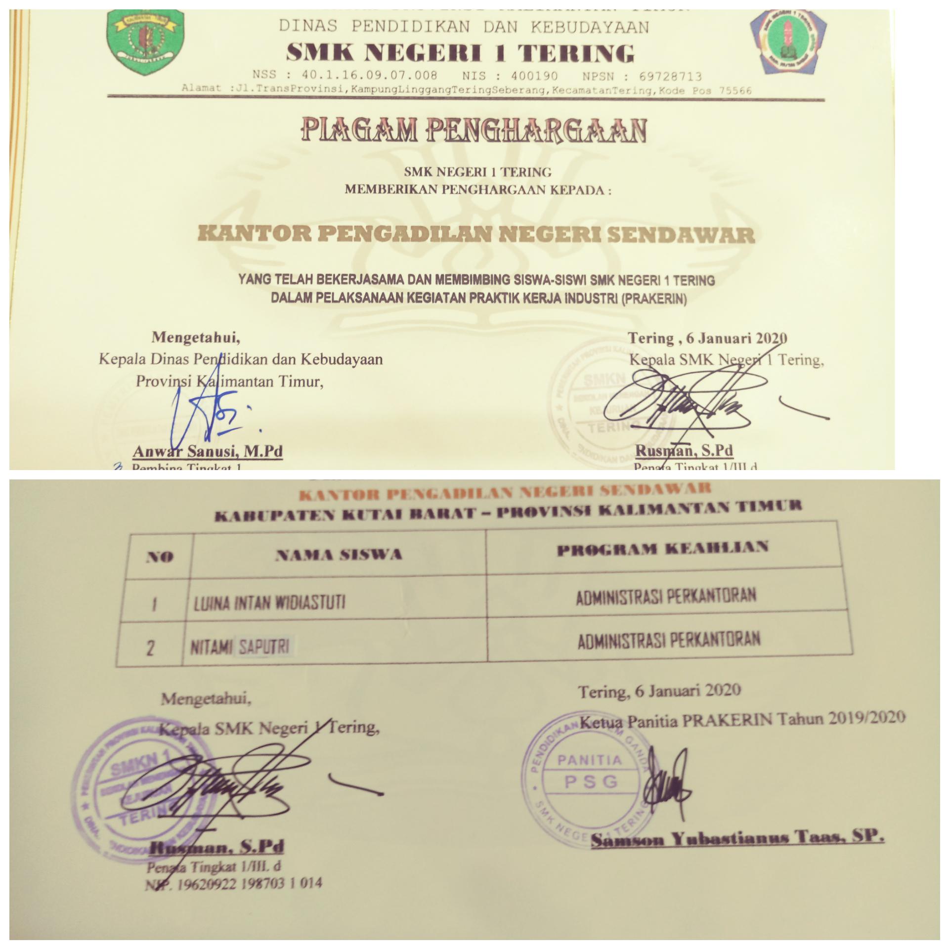 Piagam Penghargaan SMK Negeri 1 Tering Kepada Kantor Pengadilan Negeri Kutai Barat